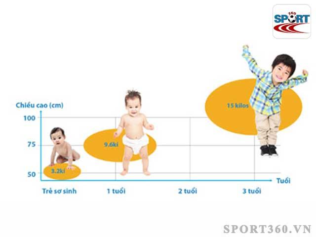 Chiều cao của một người phát triển nhanh nhất ở 3 năm đầu đời và tuổi dậy thì