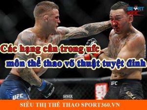 Các hạng cân trong UFC - MMA - môn thể thao võ thuật tuyệt đỉnh