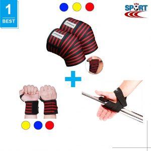 [COMBO-13] Dây kéo lưng + Quấn gối tập gym + Quấn cổ tay