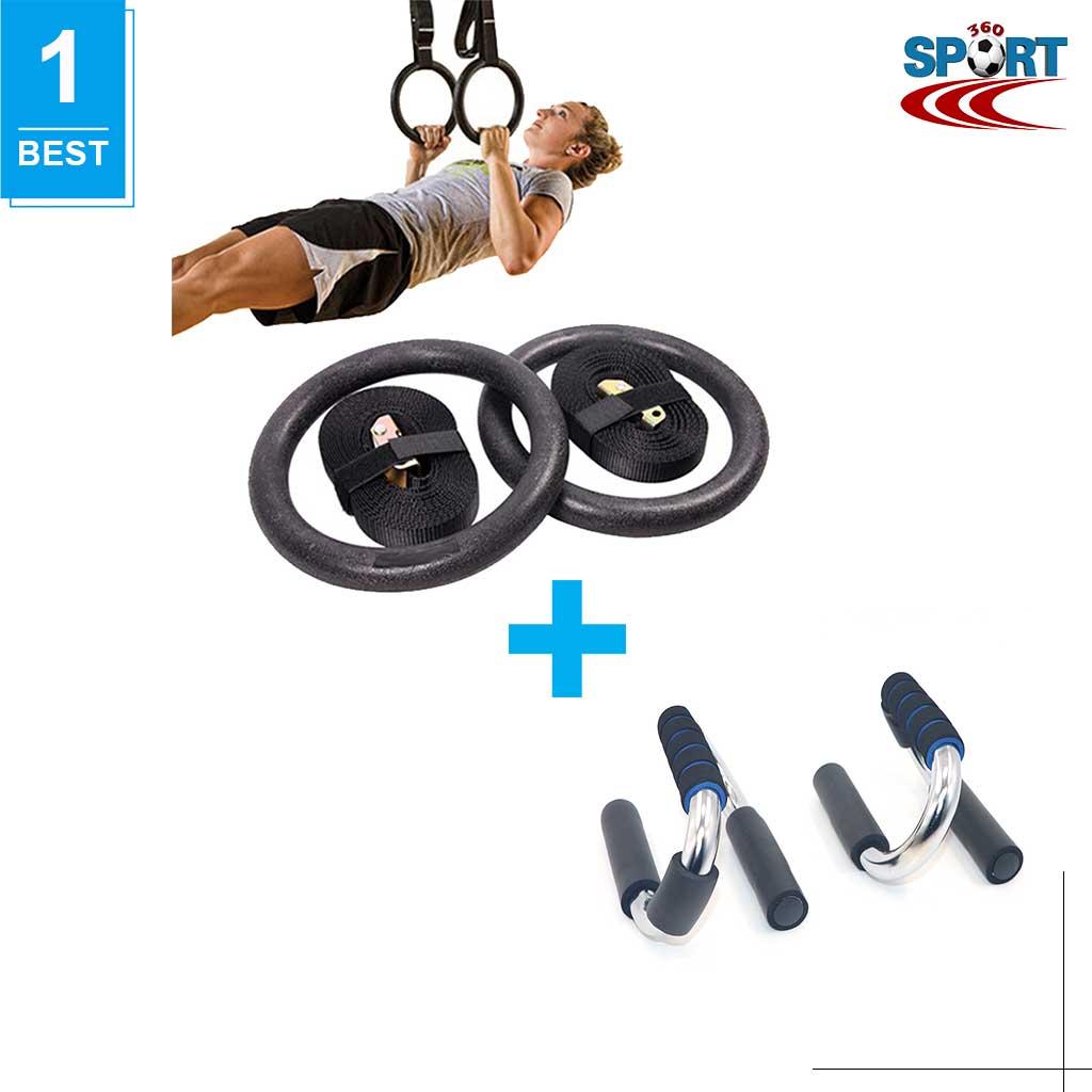 [COMBO-17] Vòng xà treo Gymnastic rings + Dụng cụ hít đất